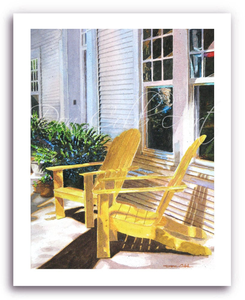 Adirondack Wooden Lawn Porch Chairs Art Yellow
