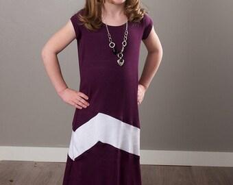 Chevron Maxi Dress PDF Sewing Pattern, girls age 2-6