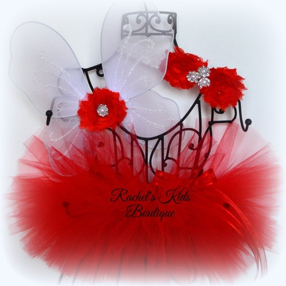 Valentine TUTU Matching Butterfly Wings Headband Shabby Chic Red Heart Cupid Photo Prop Newborn Baby Shower Infant Preemie Rose Day