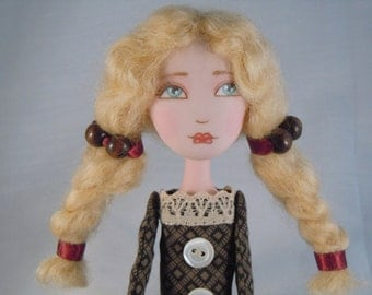 OOAK Art DOLL  in Polymer clay and Fabric - Anne -
