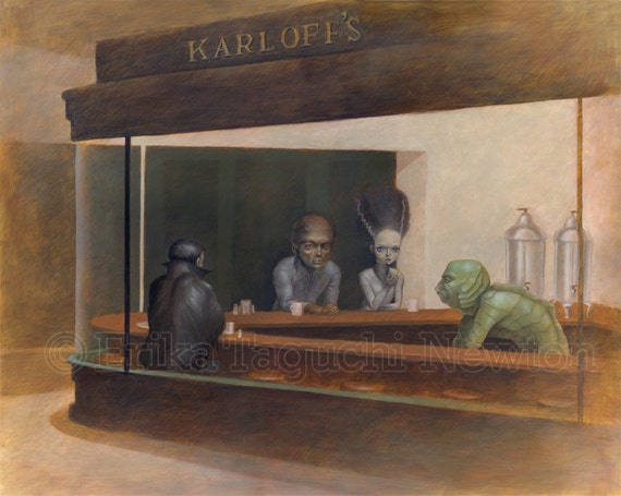 "Monster 8x10 Fine Art Print, Dracula, Wolfman, Bride of Frankenstein, Creature from Black Lagoon Painting, Nighthawks - ""Night at Karloff's"""