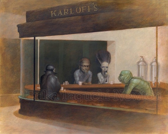 "Monster 16x12 Fine Art Print, Dracula, Wolfman, Bride of Frankenstein, Creature from Black Lagoon Painting, Nighthawks, ""Night at Karloff's"""