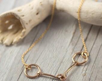Horse Bit Necklace, Horse Necklace, 14 karat Gold Filled