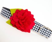 Flower Dog Collar - Red Dahlia Black and White Houndstooth (Alabama) - pecanpiepuppies