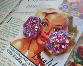 Perfect pink sparkly confetti earrings handmade 1950's vintage style