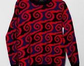 1970's Bold Abstract Sweater Small Medium Large Bright Red- Orange, Deep Purple, Black