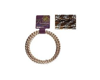 Fancy Aluminum Wire Diamond Cut Lt Copper & Silver 43026 12 Gauge , Jewelry Wire, Craft Wire, Round Wire, Aluminium Wire, Soft Temper Wire