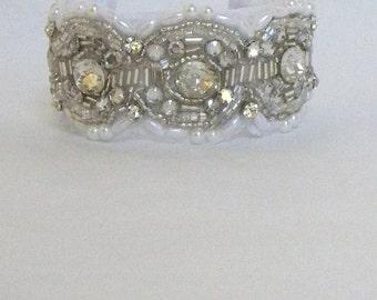 Hand beaded Bridal Cuff Bracelet, Swarovski Pearls,Rhinestone and pearl cuff,Unique Bridal, Ready to Ship-VENICE