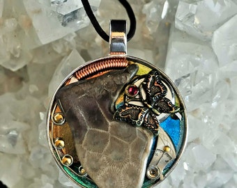 Michigan Petoskey stone and butterfly art pendant necklace with vintage watch parts one of a kind steampunk style
