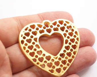 1 pc - Matte Gold Plated Dotted Heart Pendant -45x50 mm-(004-011GP)