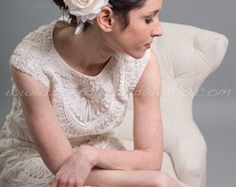 Ivory And Champagne Rose Birdcage Fascinator, Wedding Headpiece, Bridal Flower - Mae