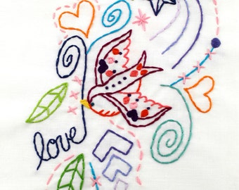 Love Bird Sparrow Tattoo Hand Embroidery PDF Pattern