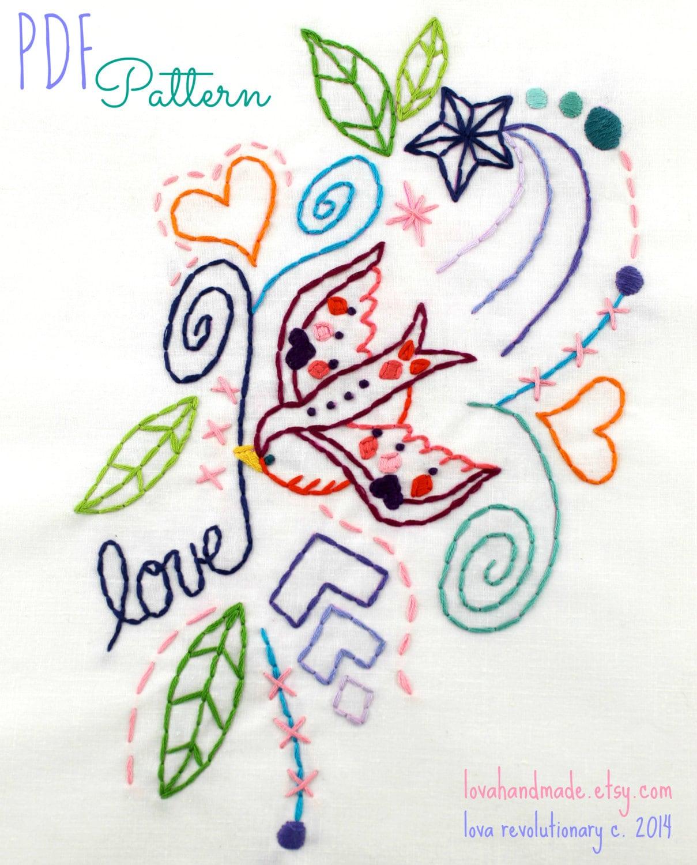 Tattoo Bird Embroidery Pattern. PDF Pattern. Digital Pattern.