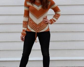Vintage Chevron Sweater // 70's Striped Sweater // Funky Patterned V-neck // M L