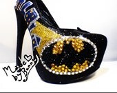 Batman themed heel design with Crystal Rhinestones and Glitter