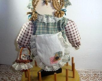 Vintage Wood Doll Thread Keep, Thread Holder, Pin Keep, Pin Cushion, Sewing, Crafting Organizer, Country Decor  (267-11)