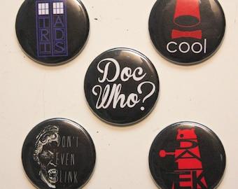 Doctor Who MAGNET Set - sci-fi MAGNETS - Tardis - Dalek - Weeping Angels - fez - Magnet Set