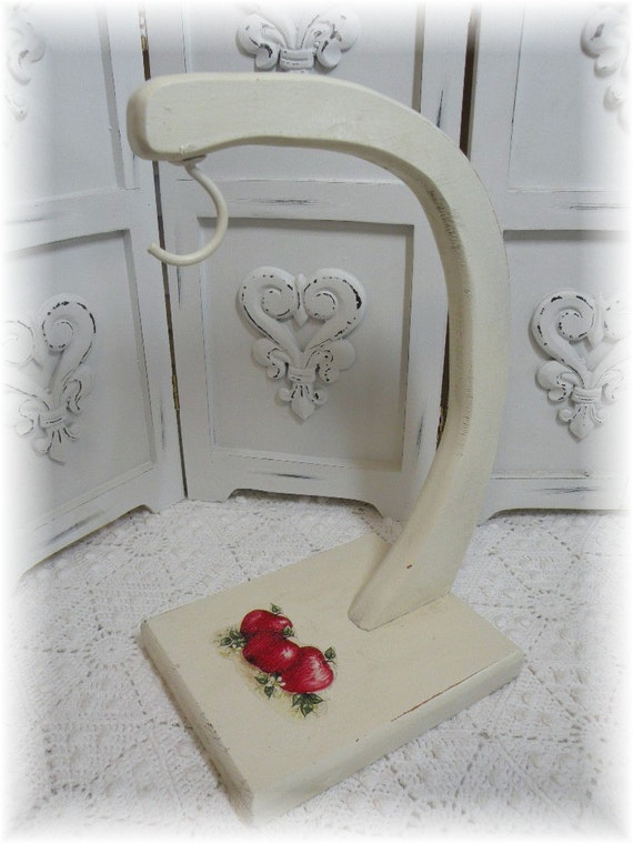 Retro French Farmhouse cottage style wood banana rack Apples, distressed chippy shabby and chic ECS