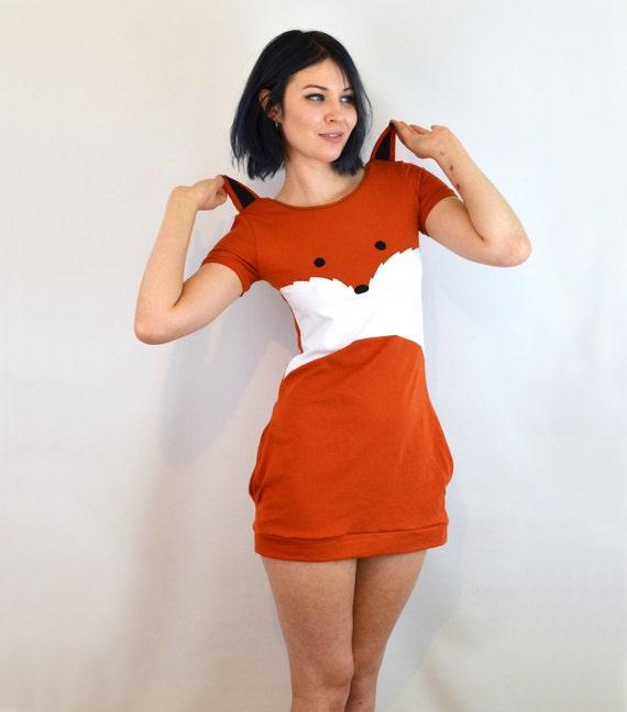 Fox dress with ears cotton jersey by knickerocker