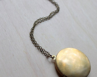 FREE SHIPPING. Brass Locket  Necklace.