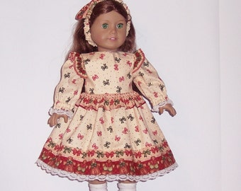CHRISTMAS BOWS DRESS with a Gingerbread Border  - for American Girl Doll or other 18 inch dolls
