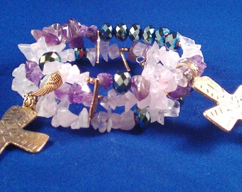 Boho Chic Wrap Bracelet AmethystGemstone Chips, Faceted AB Glass, Brass Cross and Angel Wing Charms
