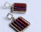 Square Purple earrings made of Sterling silver and copper Wire Wrapped, Original and beautiful earrings