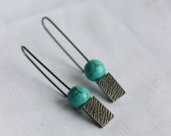 Turquoise Magnesite rectangular, flattering and long sterling silver earrings, texture, medium,simple and traditional jewelry.