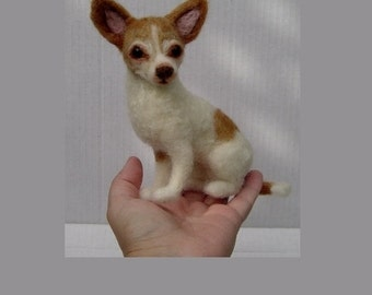 Custom needle felted Dog Portrait soft sculpture pet miniature likeness