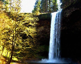 Waterfall Cliff Enchanted Forest Fine Art Photography Woodland Nature Silver Falls Oregon Greeting Card ALWAYS IN BEAUTY by Spinning Castle