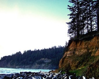 Massive Driftwood Cliffside Ocean Beach Fine Art Photography Oregon Coast Oswald State Park Greeting Card THE SENTINELS by Spinning Castle