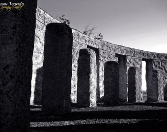 Stonehenge Replica Monument Fine Art Photography Washington Columbia River Gorge Greeting Card Pagan SENTINEL SHADOWS by Spinning Castle