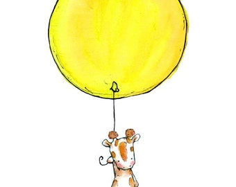 Children's Art -- Giraffe Balloon -- Art Print
