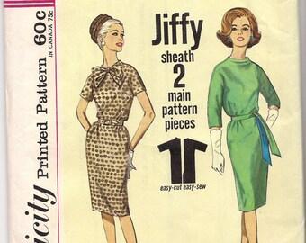 1963 VINTAGE SIMPLICITY PATTERN Misses One Piece Jiffy Dress.4776 Size 10. Bust 31.