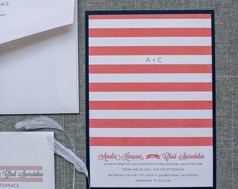 Custom Modern Navy and Coral Stripes Wedding Invitation Suite | Amelia & Chad