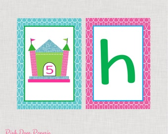 Let's Bounce Happy Birthday Bounce House Banner Printable