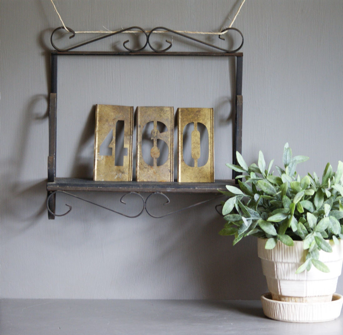 vintage wrought iron shelf wall display garden art by susantique. Black Bedroom Furniture Sets. Home Design Ideas