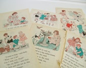 School Book Illustrations, Pages - Skating - Ice Cream - Vintage Children's School Book Plates, Prints - Primary Reader - 6 Pcs - 1940