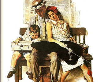 Norman Rockwell - Home From Vacation - Vintage Art Print - Rockwell Book Plate, Book Print - Saturday Evening Post Cover - 1930