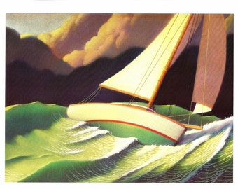 Nautical Print - Stormy Weather - Boat Print - Vintage Art Print - Boat Book Plate, Book Print - Wreck of the Zephyr - Chris Van Allsburg