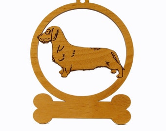 Dachshund Wirehair Stack Ornament 083041 Personalized With Your Dog's Name