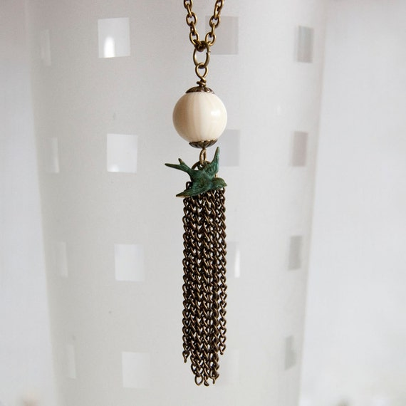 Vanilla sky - long length tassel necklace
