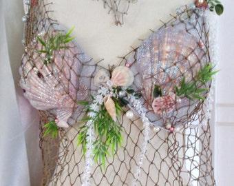 Mermaid Bra Custom Order with Natural Decor Ocean Shells, Seaweed, Pearls, Fish Netting Belt Included