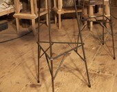 Extra Tall Reclaimed Wood Bar Stools with Metal Legs