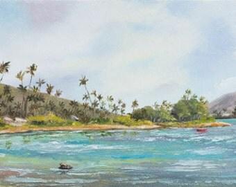 HAWAII BEACH Original Oil Painting 8x24 Art Artwork Tropical Palm Tree Kawaikui Park Puuikena Oahu Hawaiian Koko Crater Sea Ocean Canoe
