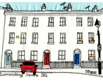 Quality print of original picture  -Row of houses, Bermondsey Square, London SE1, England.