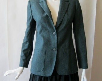 Vintage Pendleton wool blazer, deep heather moss green, with notched collar and patch hip pockets, medium (8 - 10)