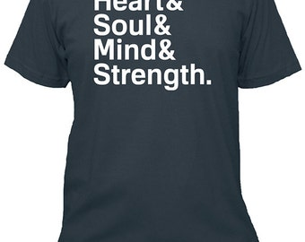 Heart & Soul, Mind, Strength Mens Shirt - Christian Bible Verse Shirt - Cotton Shirt - Made in USA - 5 Colors Available - Gift Friendly