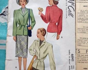 1947 jacket pattern. McCall 6841.