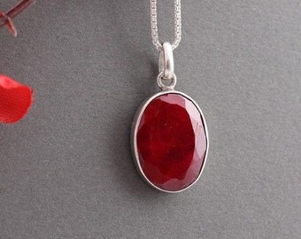 Genuine Ruby pendant - Red pendant - Bezel pendant - Gemstone Pendant - July Birthstone pendant - Gift for her